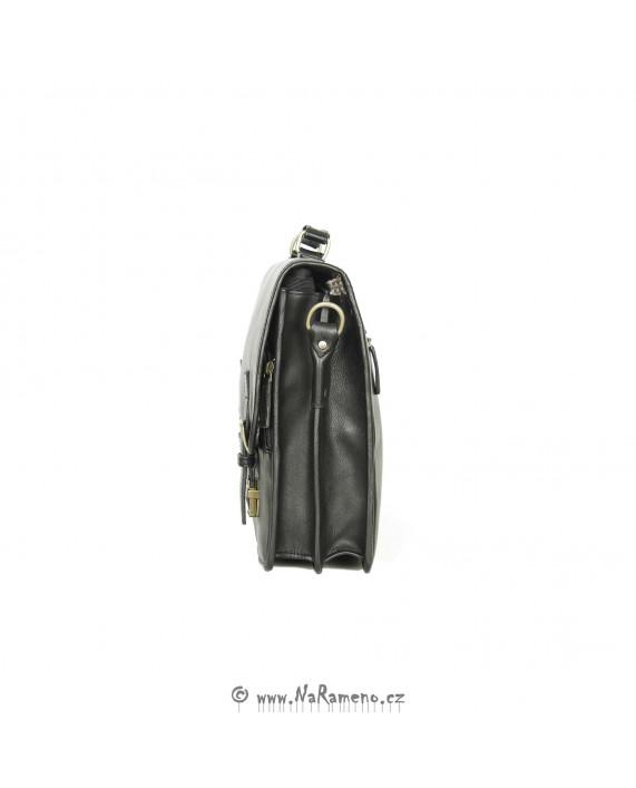 Pracovní aktovka HIDESIGN z kůže s přihrádkami Antonio černá