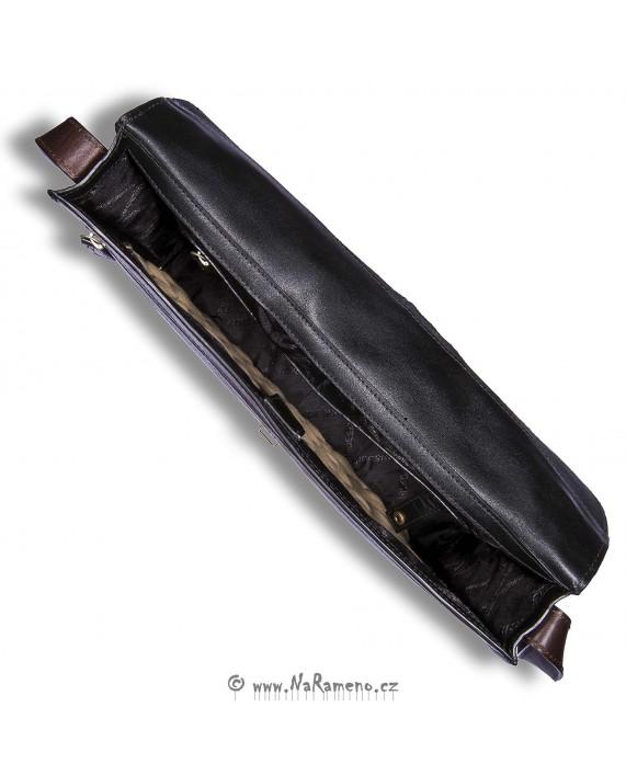 Slim aktovka na tablet Arad 01 černá s hnědými detaily od HIDESIGN