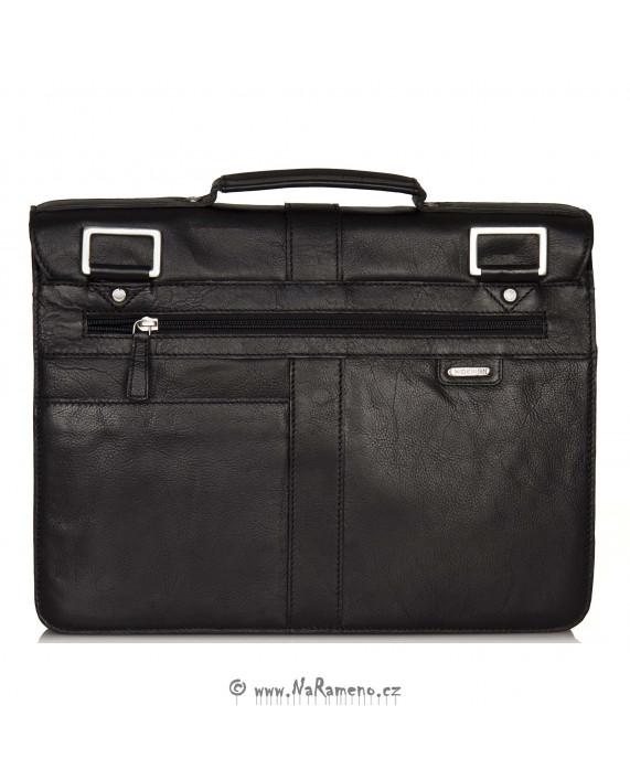 Kožená aktovka / taška přes rameno 2 v 1 Brad černá od HIDESIGN