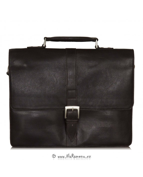 Pánská aktovka HIDESIGN s kapsou na notebook Hudson tmavě hnědá