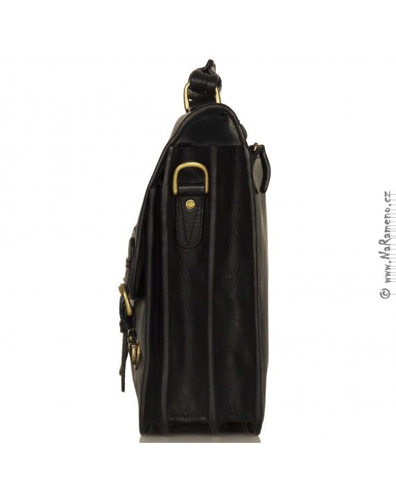 Pánská černá klasická kožená aktovka HIDESIGN na 3 oddělení Hugo