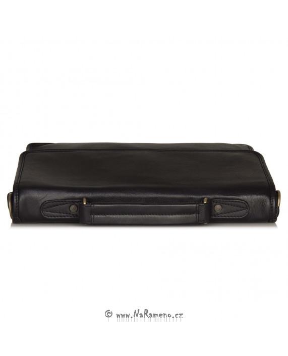 Malá unisex aktovka A4 z pravé kůže Lisa černá od HIDESIGN