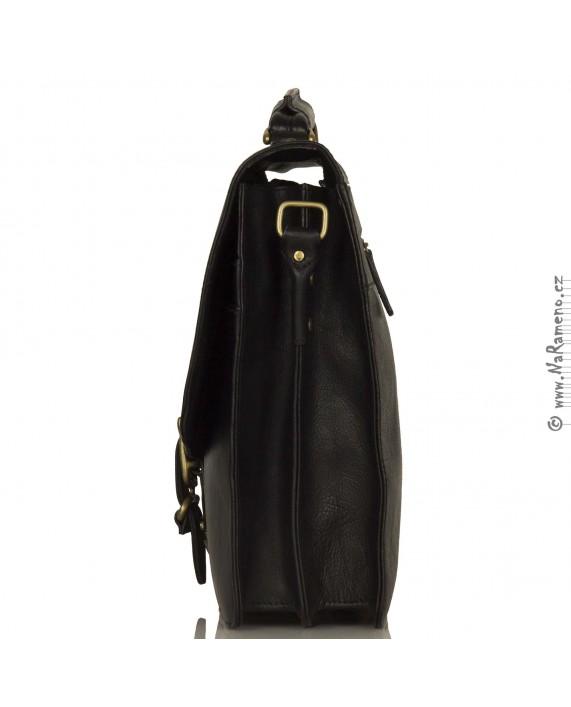 Velká XXL pánská aktovka HIDESIGN z pravé kůže Pacific 04 černá