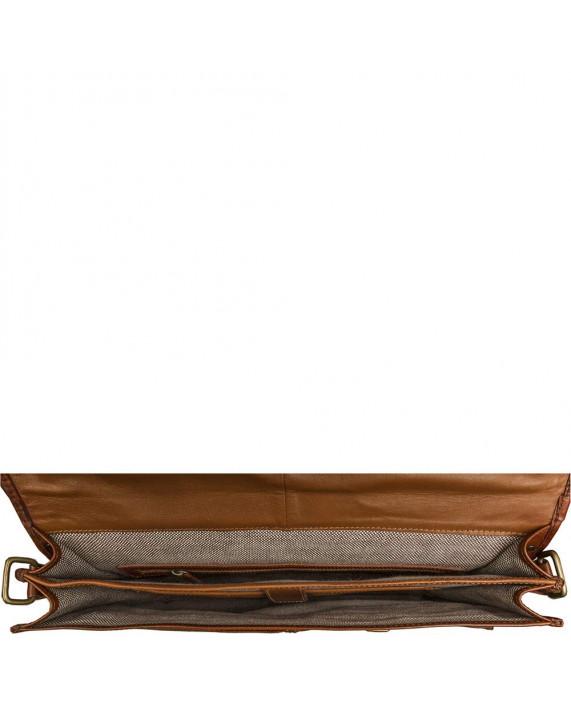 Klasická velká kožená aktovka HIDESIGN do práce Parma světle hnědá