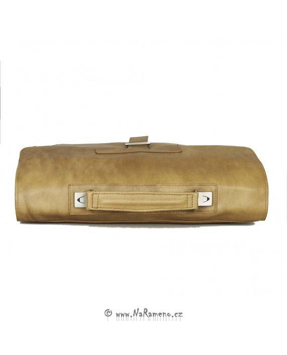Kožená aktovka HIDESIGN s oddělením na notebook Temple medová