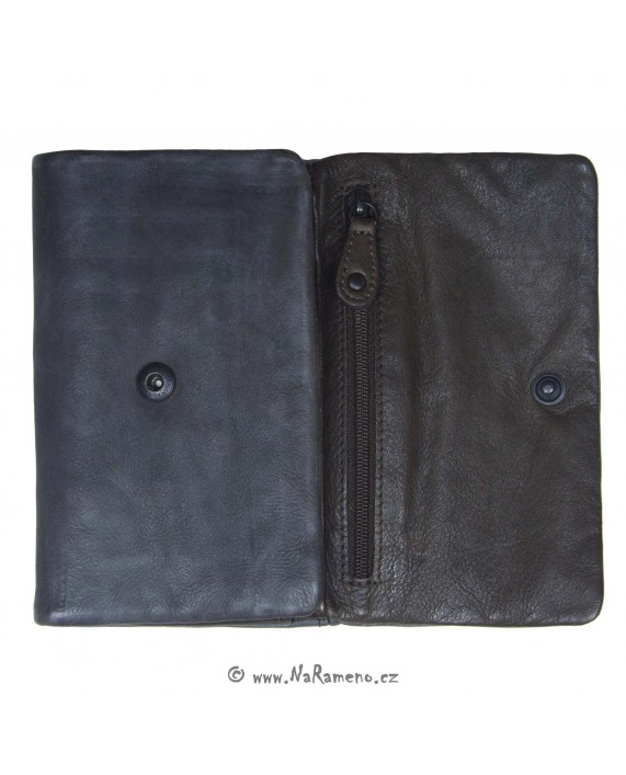 Střední šedá kožená peněženka Aunts and Uncles s překlopem na patent Clove Seed