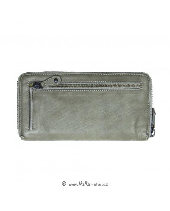 Dlouhá kožená peněženka Aunts and Uncles na zip Fennel Seed šedá