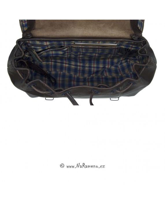 Střední retro batoh Aunts and Uncles z buvolí kůže Grumbler tmavě hnědý