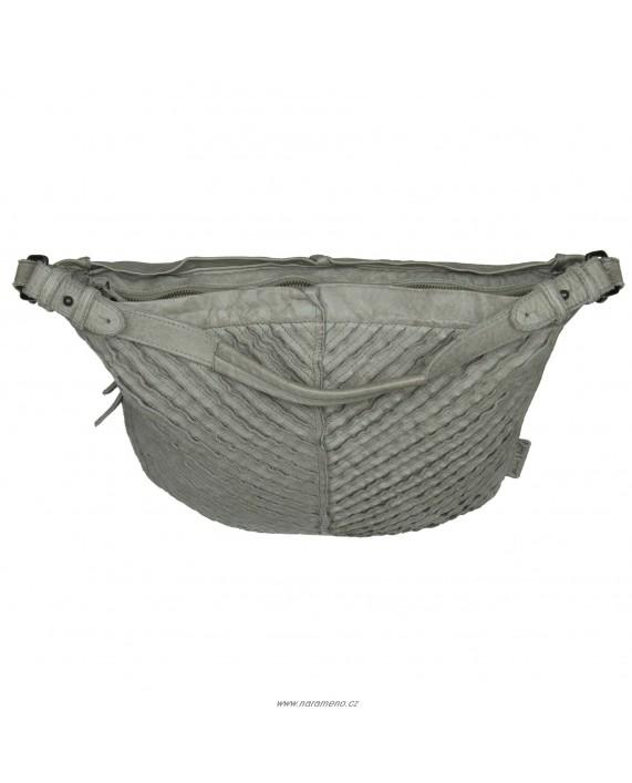 Velká kožená kabelka boho Aunts and Uncles přes rameno Josephine V-Stripes šedá
