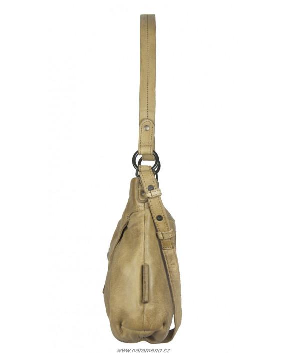 Střední kožená kabelka Aunts and Uncles hobo přes rameno Licorize loupáčkové barvy