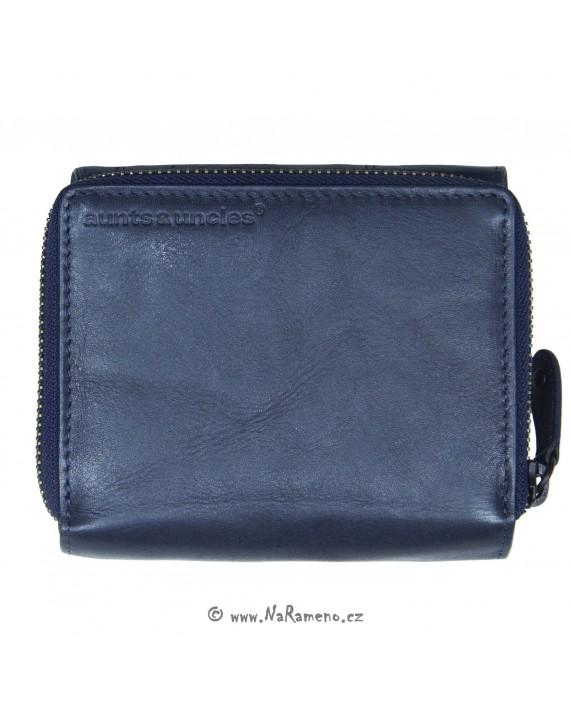 Malá peněženka Aunts and Uncles z pravé kůže na zip a cvok Lotta tmavě modrá