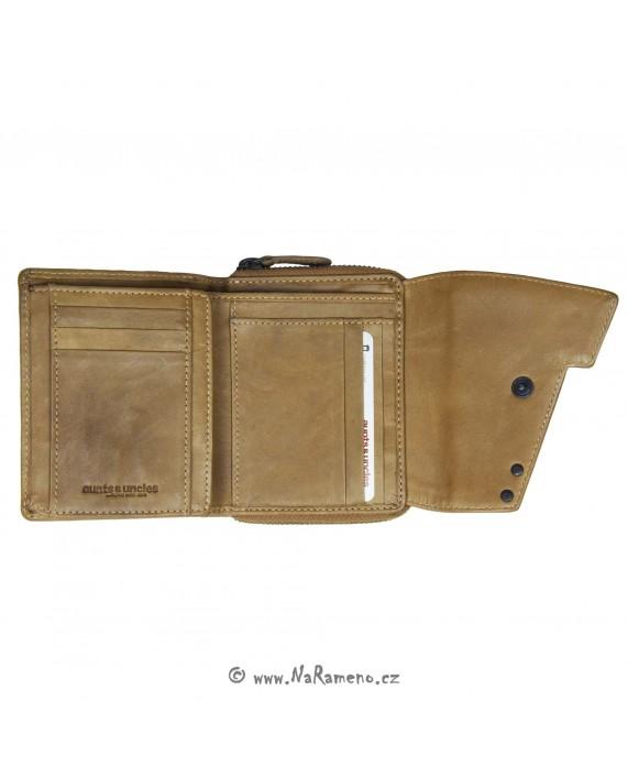 Malá kožená peněženka Aunts and Uncles na zip s cvokem Lotta karamelové barvy