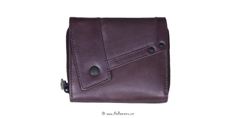 Malá vínová dámská peněženka Aunts and Uncles na zip z kůže Lotta