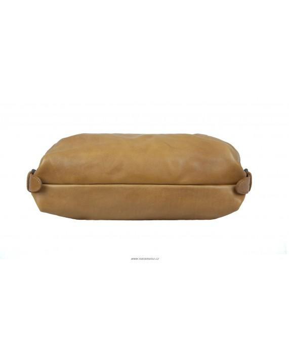 Střední kožená kabelka Aunts and Uncles na rameno Mrs.Muffin karamelová