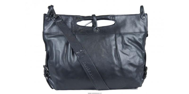 Střední dámská taška Aunts and Uncles přes rameno z kůže Mrs.Muffin černá