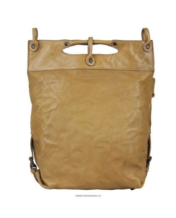Kožená velká kabelka Aunts and Uncles přes rameno Mrs.Pancake karamelové barvy