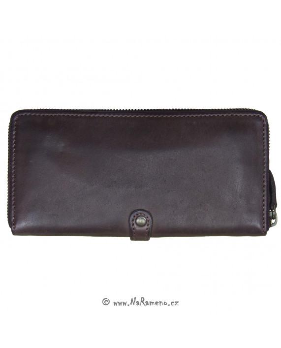 Velká kožená dámská peněženka Aunts and Uncles na zip Nutmeg vínová