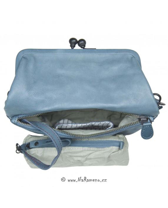 Malá překlápěcí retro kabelka Aunts and Uncles s rámem Mrs.Pretzel modrá