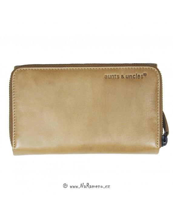 Střední kožená peněženka Aunts and Uncles na dvě oddělení Sam karamelové barvy