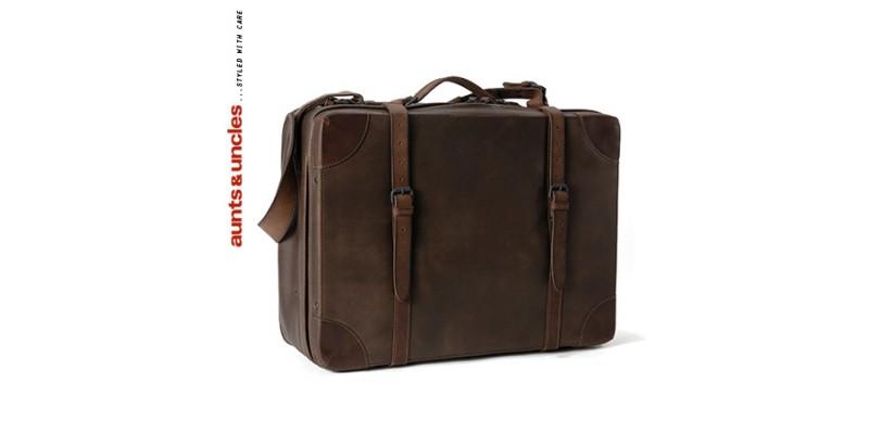 Kabinový cestovní kufr Aunts and Uncles z pravé kůže Softie tmavě hnědý