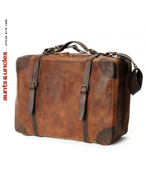 Cestovní příruční kufr Aunts and Uncles z pravé kůže Softie světle hnědý