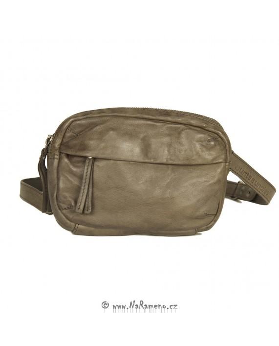 Dvoudílná multifunkční šedá kožená náprsní taška Abby-Lee od Aunts and Uncles