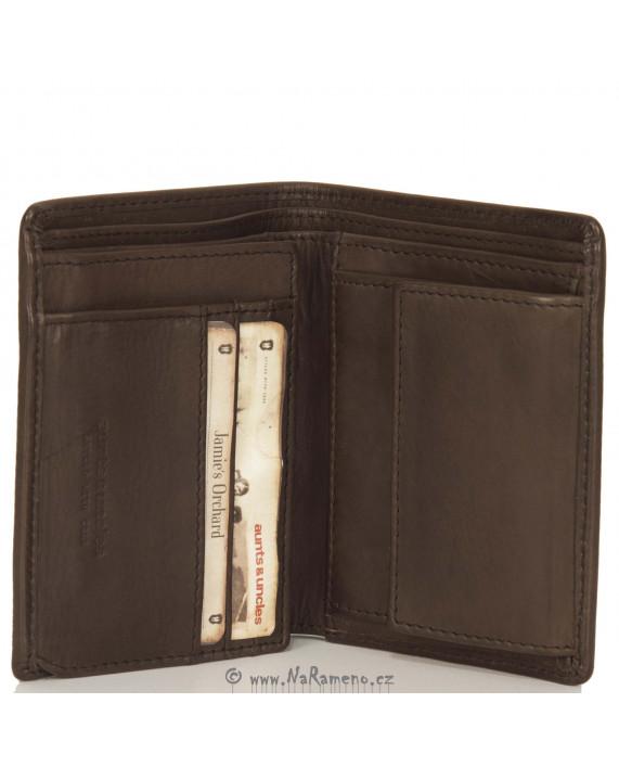 Pánská kožená peněženka Aunts and Uncles na výšku Apple hnědá