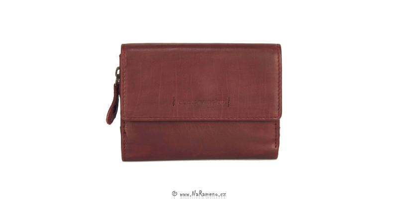 Červená malá peněženka pro ženy Aunts and Uncles z pravé kůže Apricot