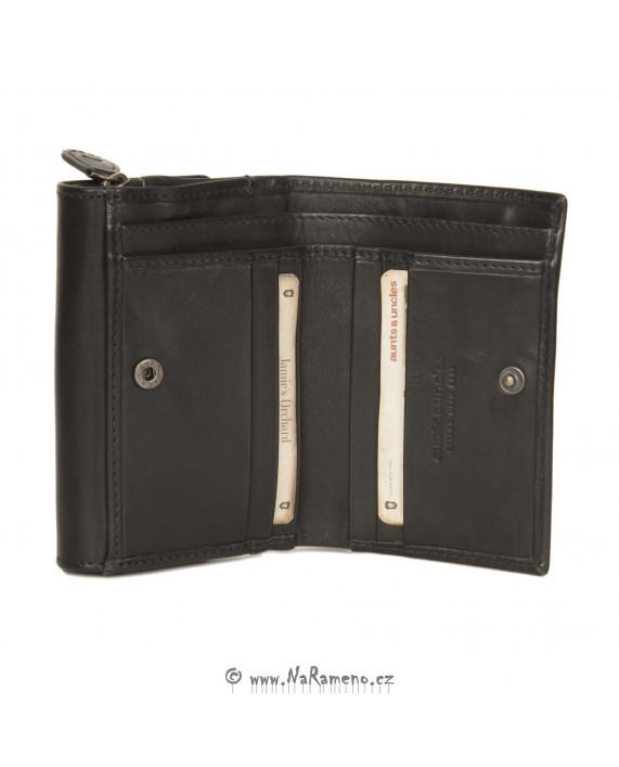Elegantní dámská peněženka Aunts and Uncles z pravé kůže Apricot černá