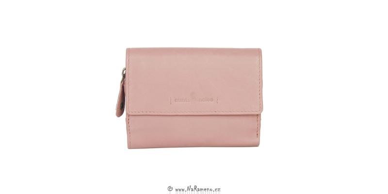 Dámská kožená peněženka Aunts and Uncles menšího rozměru Apricot růžová