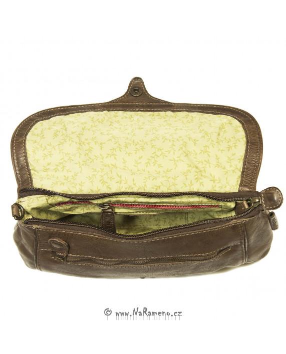 Malá dámská kabelka Aunts and Uncles crossbody nebo do ruky pro volný čas Banana Chew hnědá