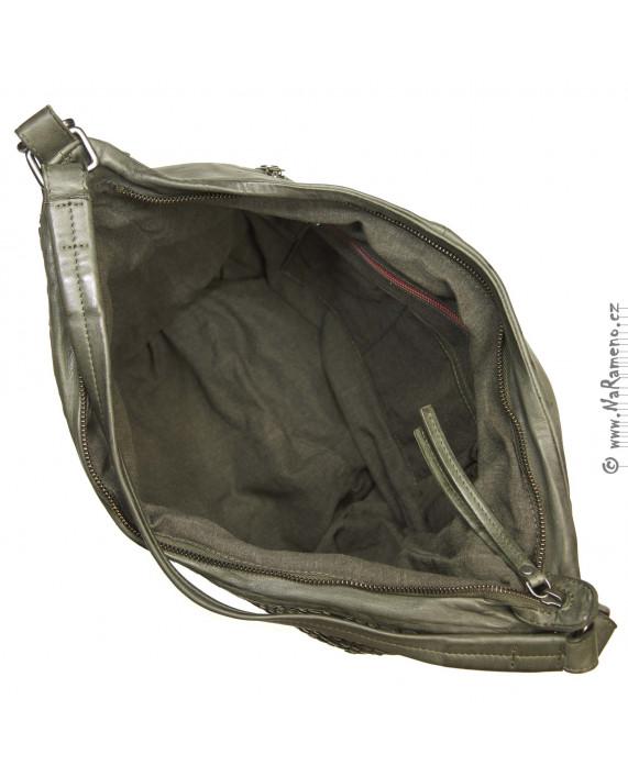 Stylová olivová hobo taška Aunts and Uncles s koženým pletením pro ženy Blair