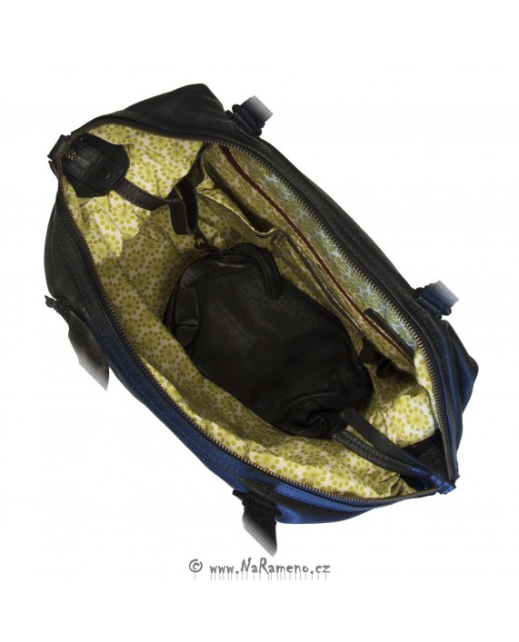 Velká tote kabelka Aunts and Uncles z kůže Cabbage tmavě modrá