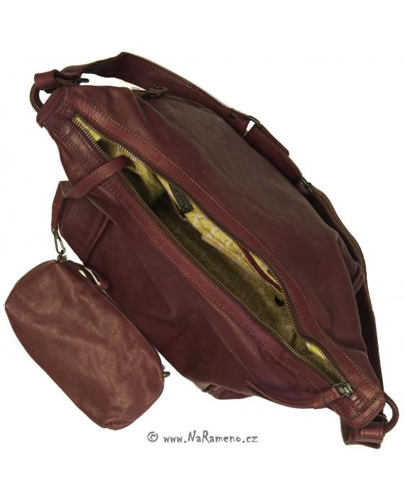 Velká měkká hobo kabelka Aunts and Uncles přes rameno Cauliflower vínová
