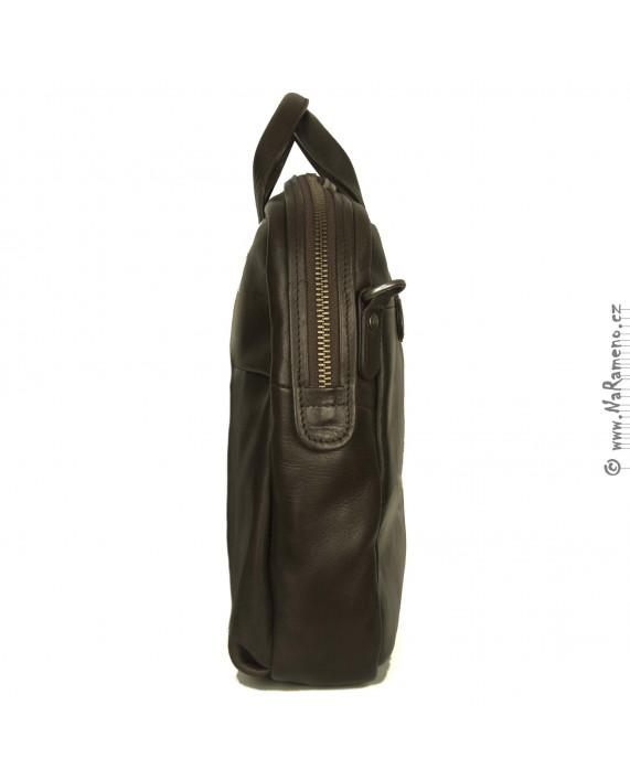 Stylová pánská business taška A4 Aunts and Uncles z hovězí kůže Equalizer hnědá