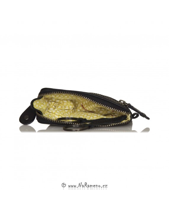 Kožená klíčenka Aunts and Uncles na zip s kapsou Kiwi černá