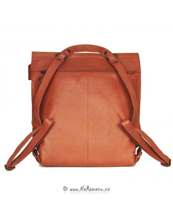 Dámský červený kožený kabelko-batoh na notebook Mrs. Apple Strudel od Aunts and Uncles