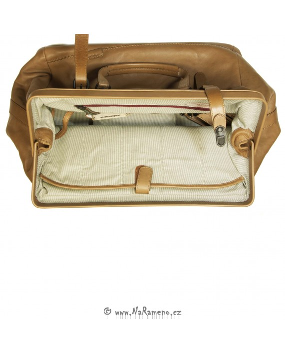 Kožená cestovní taška Aunts and Uncles s rámem Mrs. Currant Bread v karamelové barvě