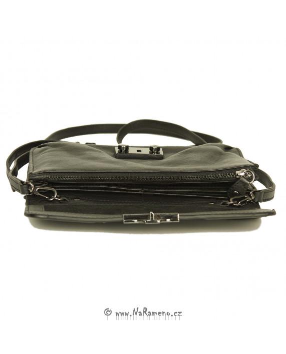 Kožená černá etue kabelka a peněženka v jednom Mrs. Jam Puff od Aunts and Uncles