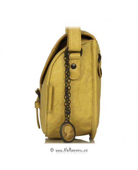 Malá dámská sedlová kabelka Aunts and Uncles z kůže Mrs. Lime Puff, barva citron-kari