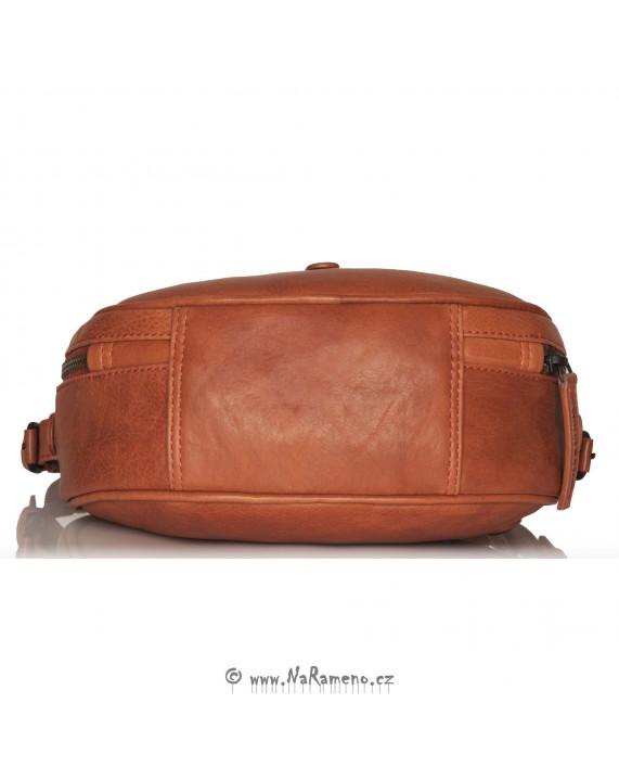 Malá oválná kožená kabelka Aunts and Uncles Mrs. Plum Pie oranžová