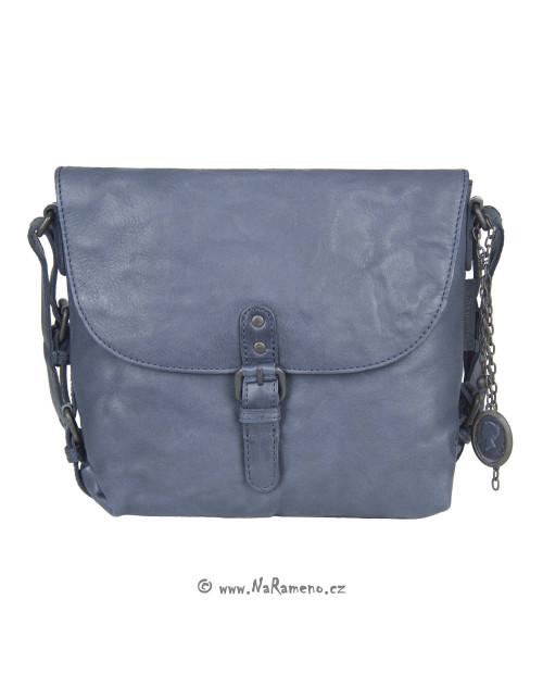 Malá volnočasová kabelka Aunts and Uncles z pravé kůže Mrs.Puff Pie tmavě modrá