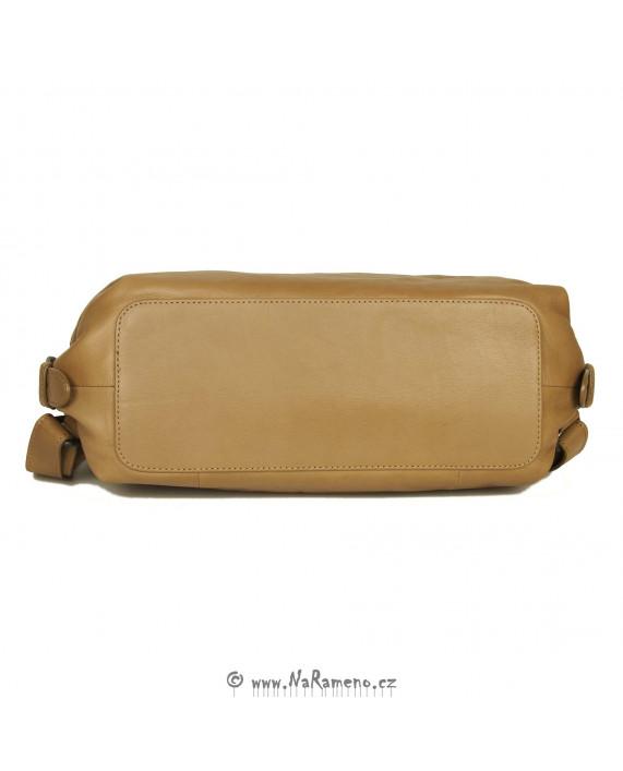 Batoh i kabelka Aunts and Uncles s rámem tři v jednom Mrs. Sprinkle Tart z kůže karamelové barvy