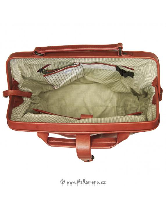 Multifunkční batoh-kabelka Aunts and Uncles s rámem Mrs. Sprinkle Tart z pravé červené kůže
