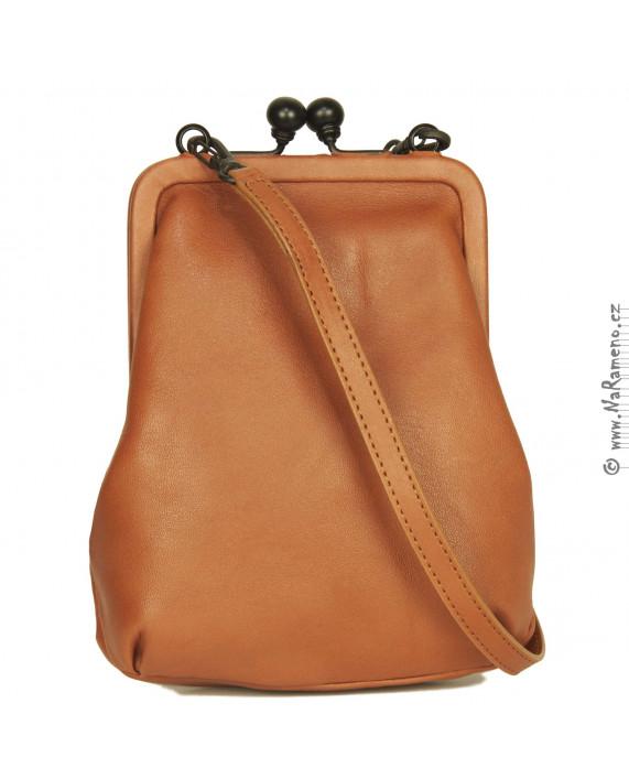 Malá oranžová kabelka Aunts and Uncles v retro stylu s rámem Mrs. Sugar Pop