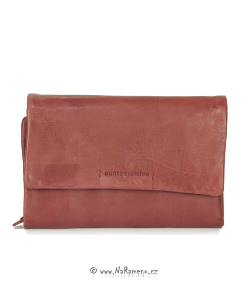 Měkká červená peněženka Aunts and Uncles střední velikosti Peach