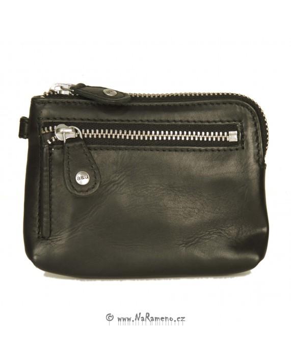 Malá černá peněženka na zip na klíče, karty a hotovost Physalis od Aunts and Uncles