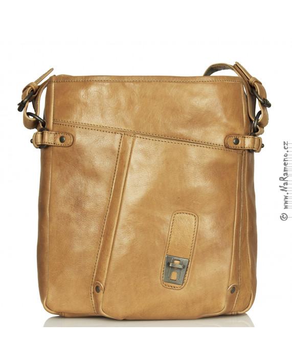 Střední světle hnědá taška Aunts and Uncles přes rameno s kapsou na notebook Preston