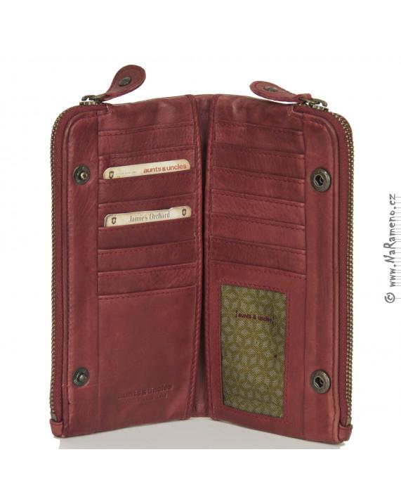 Červená peněženka Aunts and Uncles na zip s oddělením na mobil Quince