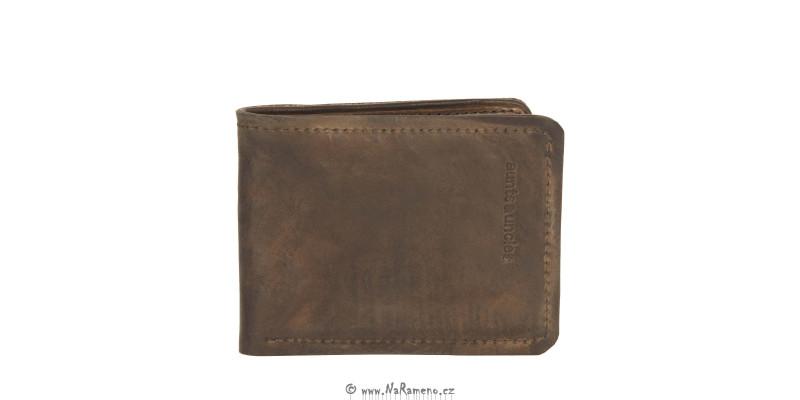 Tenká jednoduchá pánská peněženka Roger oříškové barvy od Aunts and Uncles